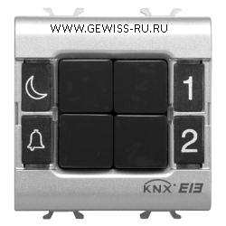 4-канальная кнопочная панель, встраиваемого монтажа, 2 модуля, цвет титановый  1