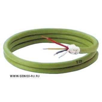 Кабель, 4 проводника, 2 витые пары (1-ая используется для подачи питания и передачи данных к EIB-устройствам; 2-ая пара жил может использоваться для обеспечения питания SELV), 2x2x0.8мм, ПВХ-изоляция, 100м