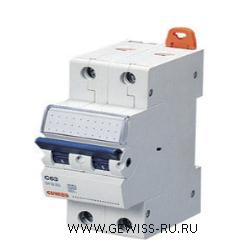 Модульный автоматический выключатель серии  MT 45, 10 А, 2P, 2 модуля, 4,5кА, характеристика С 1