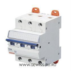 Модульный автоматический выключатель серии  MT 45, 10 А, 3P, 3 модуля, 4,5кА, характеристика B 1