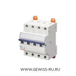 Модульный автоматический выключатель серии  MT 45, 10 А, 4P, 4 модуля, 4,5кА, характеристика B 1