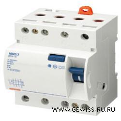 Устройство защитного отключения, 100 А, 4Р, 4 модуля, 100 мА, тип АС  1