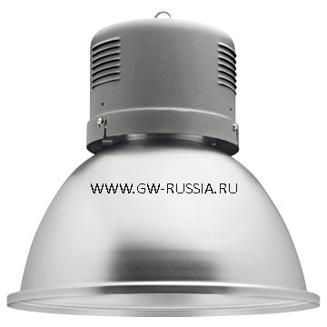 GW84102Q_HERCULES Светильник в оборудованном исполнении с коррекцией коэффициента мощности, оборудование для возгораемой поверхности, IP20 Класс I min дистанция от освещаемого объета-1м, 230B-50Гц 250Вт QE Е40 2.2А, серый графит