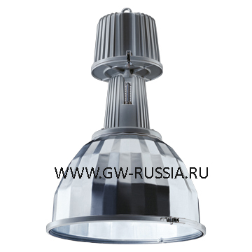GW84803S_KONO Светильник в оборудованном исполнении с коррекцией коэффициента мощности, оборудование для возгораемой поверхности, со стеклом, IP65 Класс I min дистанция от освещаемого объета-1м, 230B-50Гц 250Вт SЕ Е40 3А, серый