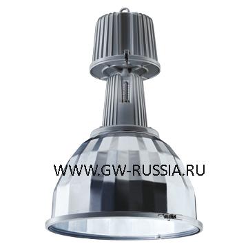 GW84827M_KONO Светильник в оборудованном исполнении с коррекцией коэффициента мощности, оборудование для возгораемой поверхности, со стеклом, IP65 Класс I min дистанция от освещаемого объета-1м, 230B-50Гц 250Вт MЕ 1kV Е40 3.4А, серый