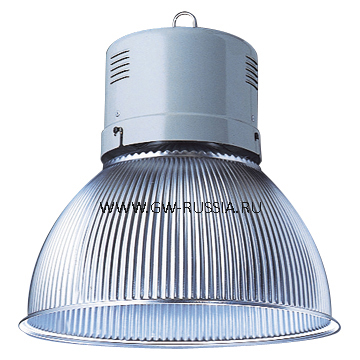 GW84883M_HERCULES Светильник в оборудованном исполнении с коррекцией коэффициента мощности, оборудование для возгораемой поверхности, IP20 Класс I min дистанция от освещаемого объета-1м, 230B-50Гц 250Вт ME Е40 3А, серый RAL 7035