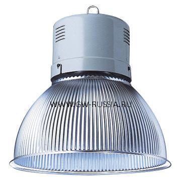 GW84886M_HERCULES Светильник в оборудованном исполнении с коррекцией коэффициента мощности, оборудование для возгораемой поверхности, IP20 Класс I min дистанция от освещаемого объета-1м, 230B-50Гц 250Вт ME 1kV Е40 2.2А, серый RAL 7035
