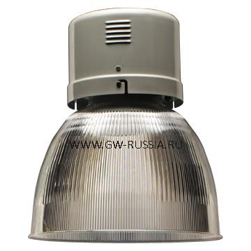 GW85895M_HERCULES Светильник в оборудованном исполнении с коррекцией коэффициента мощности, оборудование для возгораемой поверхности, IP20 Класс I min дистанция от освещаемого объета-1м, 230B-50Гц 250Вт ME 1kV Е40 2.2А, серый RAL 7035