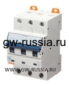 Модульный автоматический выключатель серии Compact, MT100, 10 А, 3P, 3 модуля, 10кА, характеристика С