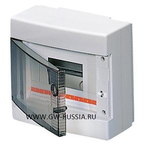 Настенный распределительный щиток с прозрачной дымчатой дверцей, белый, 8 мод, IP40