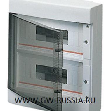 Настенный распределительный щиток с прозрачной дымчатой дверцей, оснащенный клеммными блоками, белый, 24 (12х2) мод, IP40
