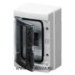Настенный распределительный щиток с прозрачной дымчатой дверцей, серый, 12 мод, IP65
