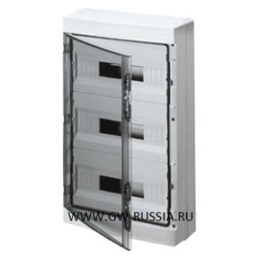 Настенный распределительный щиток с прозрачной дымчатой дверцей, серый, 54 мод (18х3), IP65