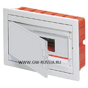 Встраиваемый распределительный щиток с белой непрозрачной дверцей, белый, 12+1 мод, IP40