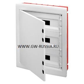 Встраиваемый распределительный щиток с непрозрачной белой дверцей, с прорезями и съемной рамой, белый, 72 (18х4) мод, IP40