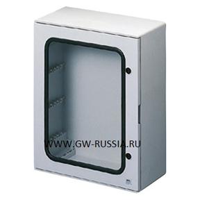 Влагозащищенный щит из полиэстера с прозрачной дверцей, серого цвета, 72 (18х4) мод, 2 замка, 118А, 81Вт