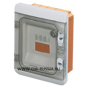 Влагозащищенный модульный встраиваемый щиток с противоударными крышками, серый, 6 мод, 15Вт