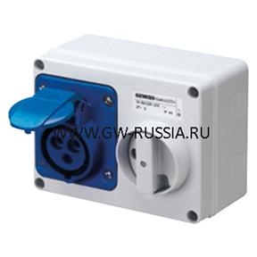 Стационарная защищенная горизонтальная розетка с блокировочным выключателем-50/60Гц IP44, 16А, 2Р+Е, 100-130В, полож.конт.заземл.- 4