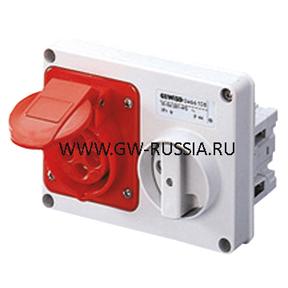 Стационарная защищенная горизонтальная розетка с блокировочным выключателем-50/60Гц IP44, 16А, 3Р+N+Е, 100-130В, полож.конт.заземл.-4
