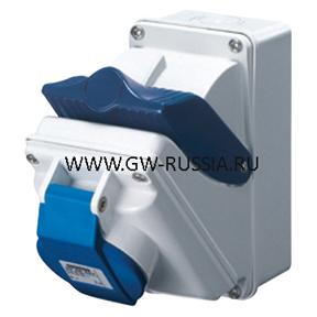 Стационарная компактная розетка с блокировочным выключателем-50/60Гц IP44, 16А, 2Р+Е, 100-130В, полож.конт.заземл.- 4