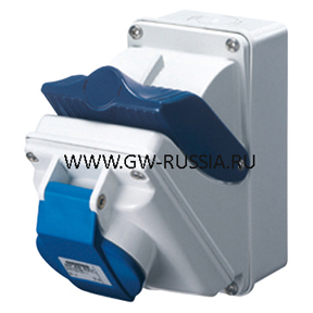 Стационарная компактная розетка с блокировочным выключателем-50/60Гц IP44, 16А, 3Р+N+Е, 100-130В, полож.конт.заземл.- 4