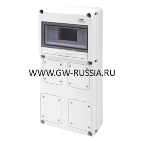 Влагозащищенный щиток RAL 7035 IP65, 10 мод, макс.кол-во IEC309/IB- 2 IEC МАКС. 3Р+Е 16А-2 IEC 16/32A, фланцев- 1 IEC 309 16A+1 16/32A, 16А, 42Вт