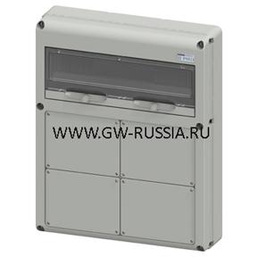 Влагозащищенный щиток RAL 7035 IP65, 20 мод, Макс.кол-во IEC 309/IB- 2 IEC 309 63A- 4 IEC 309 16/32, фланцев- 2 IEC 16/32A+1 63A, 30А, 92Вт