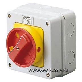 Настенный поворотные выключатель аварийного типа с желто-красной ручкой, IP65, 32 А, 2Р