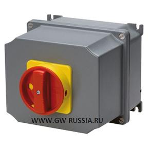 Настенный поворотные выключатель аварийного типа, запираемые на фланец, IP65, 100 А, 3Р