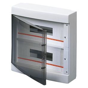 Настенный распределительный щиток с прозрачной дымчатой дверцей, оснащенный клеммными блоками, белый, 36 (18х2) мод, IP40