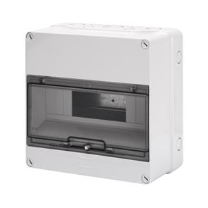 Распределительный щиток с прозрачной дымчатой дверцой, серый, 12 мод, 25Вт