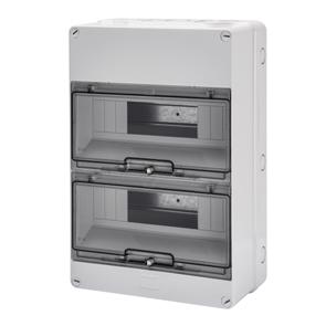 Распределительный щиток с прозрачной дымчатой дверцой, серый, 24 мод, 25Вт