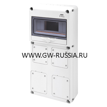 Влагозащищенный щиток RAL 7035 IP65, 10 мод, макс.кол-во IEC309/IB- заглушка, 16А, 42Вт
