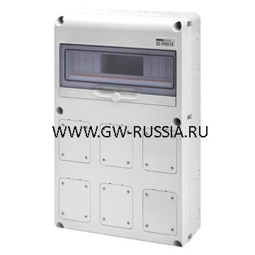 Влагозащищенный щиток RAL 7035 IP65, заглушка, 24А, 64Вт