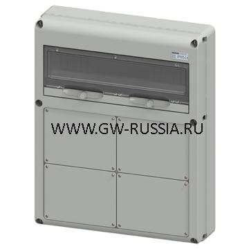Влагозащищенный щиток RAL 7035 IP65, 20 мод, заглушка, 30А, 92Вт