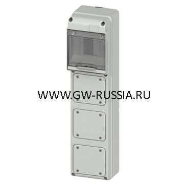 Влагозащищенный щиток RAL 7035 IP65, кол-во мод- 5, фланц.крышек- 1 IEC 309 16A IP44/67 10 A 37Bт