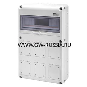 Влагозащищенный щиток RAL 7035 IP65,Макс.кол-во IEC 309/IB- 6 IEC 309 16/32A IP44/67, фланцев- 3 IEC 16/32A, 24А, 64Вт