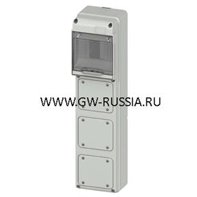 Влагозащищенный щиток RAL 7035 IP65, кол-во мод- 5, фланц.крышек- 3 IEC 309 16A IP44/67, фланцев 1 IEC 16A, 10 A 37Bт